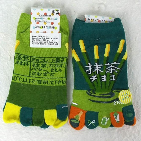 5 Toe Socks Green Tea Matcha Pocky - Pac West Kimono