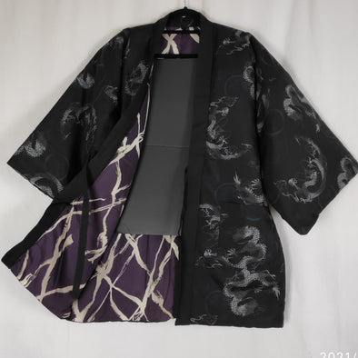 Japanese traditional warm Hanten coat Mens reversible Black Dragon/Purple. Chanchanko comfy light padded jacket