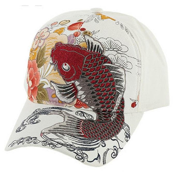 Baseball Cap Embroidered Koi Fish Carp Wine Color - Pac West Kimono