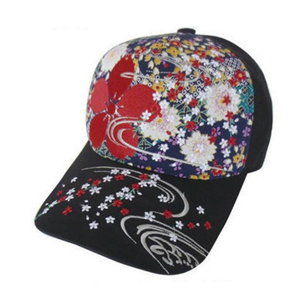 Baseball Cap Embroidered Sakura Cherry Blossoms Design - Pac West Kimono