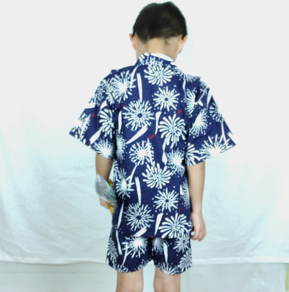 Boys 2pc Japanese Jinbei Navy and White Fireworks - Pac West Kimono