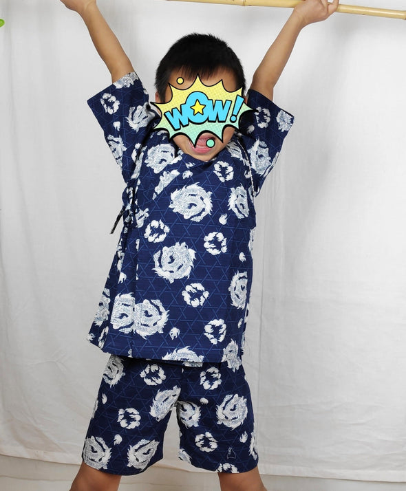 Boys 2pc Jinbei Navy and White Dragons - Pac West Kimono