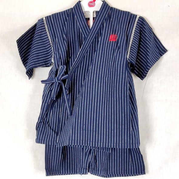 Boys 2pc Jinbei Navy and White Stripes - Pac West Kimono