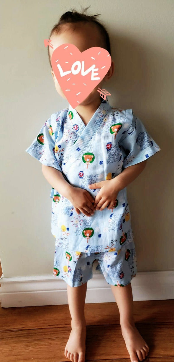 Boys Jinbei 2pc set Bear design baby blue - Pac West Kimono