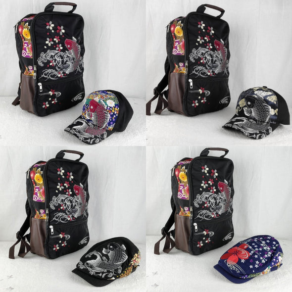 Cool embroidered backpack and hat gift set - Pac West Kimono