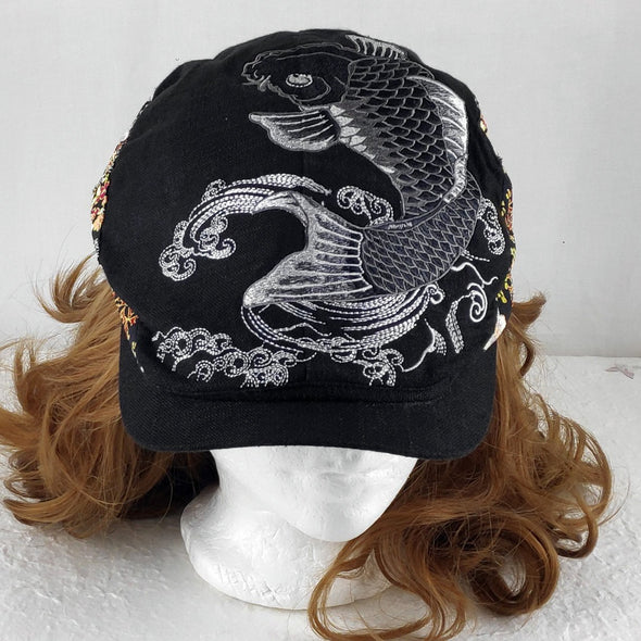 Cool Embroidered Japanese Koi Fish (Carp) Beret Hat Black-grey - Pac West Kimono