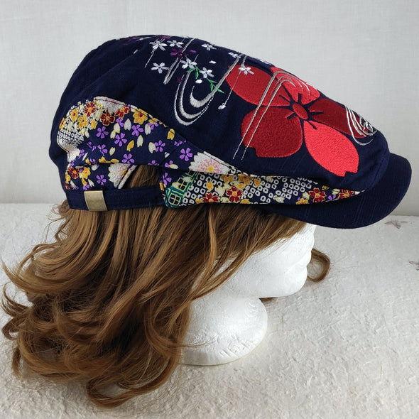 Cool Embroidered Japanese Sakura cherry blossoms Beret Hat - Pac West Kimono
