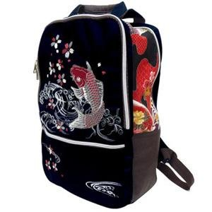 Cool embroidered koi fish backpack - Pac West Kimono