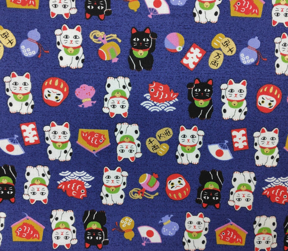 Cute Maneki Neko Cat Japanese Cotton fabric. Blue. 110cm width - Pac West Kimono