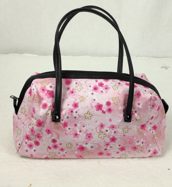 Cute mini boston bag made with Japanese fabric. Pink Cherry Blossoms - Pac West Kimono