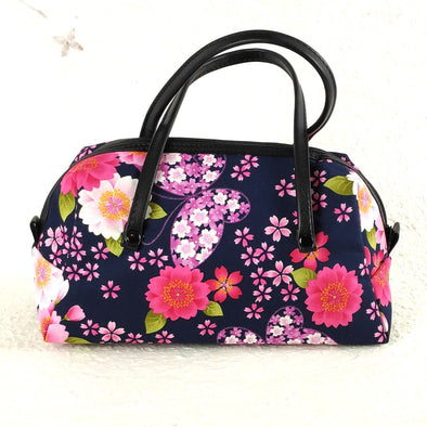 Cute mini boston purse made with Japanese fabric. Navy cherry blossoms - Pac West Kimono