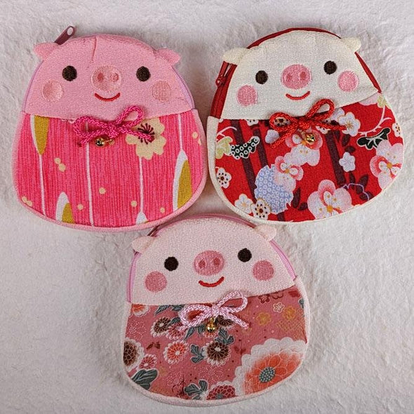 Cute Pig Pouch. Japanese chirimen crepe fabric - Pac West Kimono