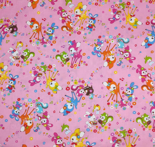 Cute Retro Animal print Japanese Cotton fabric. 110cm width - Pac West Kimono