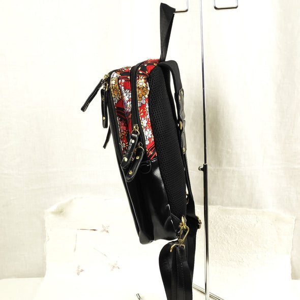 Embroidered cross body bag. Red and gold cherry blossoms - Pac West Kimono