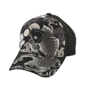 Embroidered Koi Fish Carp Baseball Cap Black-grey - Pac West Kimono