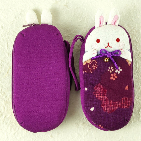Cute Bunny Eye Glasses Case made with Japanese chirimen crepe fabric