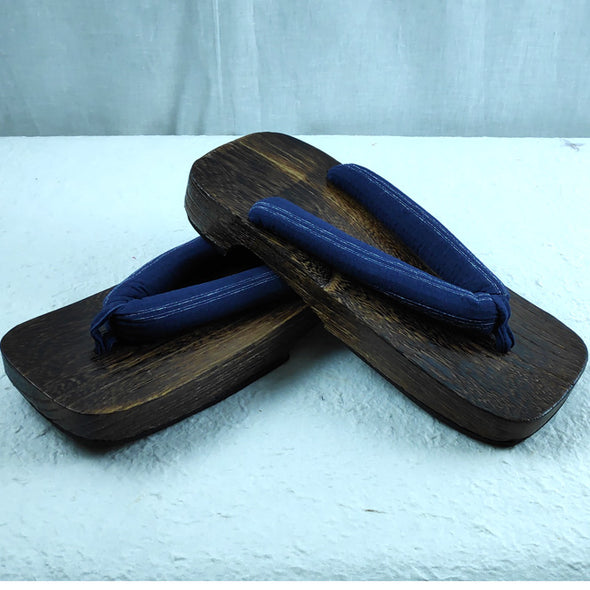 Mens Japanese Wood Geta Sandals 27cm Navy