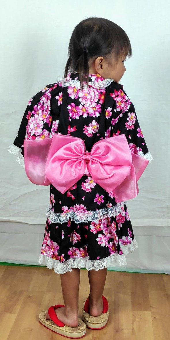 Girl's Yukata Dress Black and pink floral with lace 110-120cm - Pac West Kimono