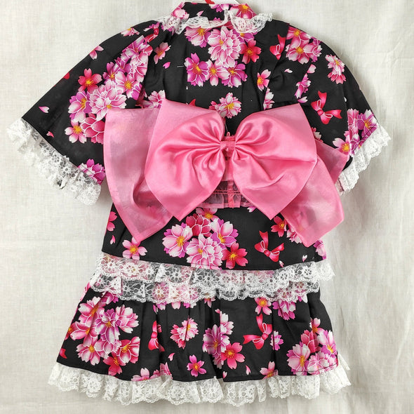Girl's Yukata Dress Black and pink floral with lace - Pac West Kimono