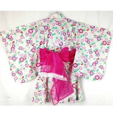 Girl's Yukata Dress Ivory Morning Glory flowers - Pac West Kimono
