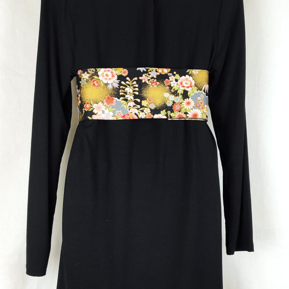 Handmade Obi style belt. Japanese Cotton Fabric. Black and gold floral - Pac West Kimono