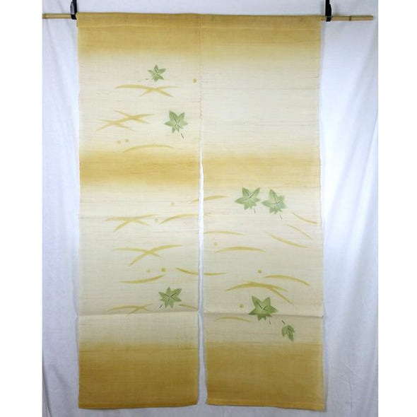 Hemp Noren Tapestry Maple Leaves Design - Pac West Kimono
