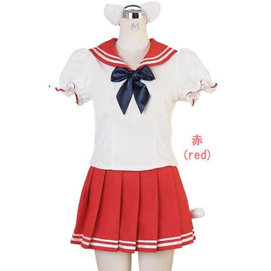 Japanese School Girl Uniform Costume with Cat Ears and Tail. White and red Short Sleeve - Pac West Kimono