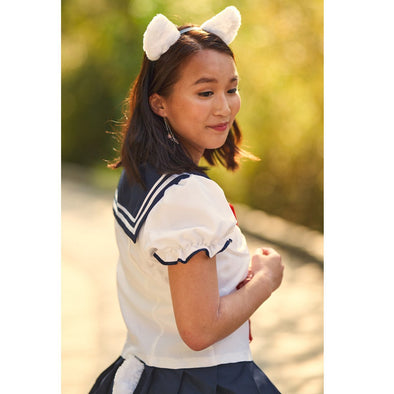 Japanese School Girl Uniform Costume with Cat Ears and Tail. White, Navy and red Short Sleeve - Pac West Kimono