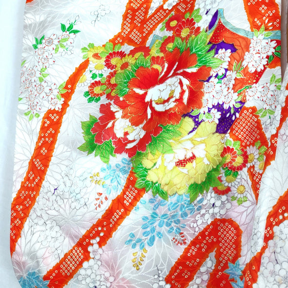 Japanese traditional kimono for girls. Silk white with orange and floral - Pac West Kimono
