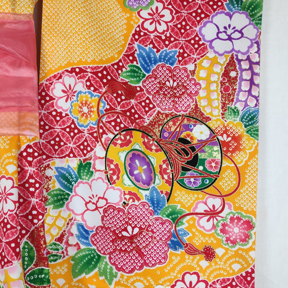 Japanese traditional kimono for girls. Washable. Yellow floral - Pac West Kimono