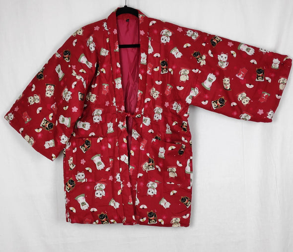 Japanese traditional warm Hanten coat. Womens. Cute red cat design. - Pac West Kimono