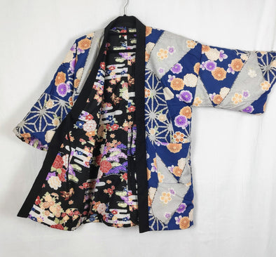 Japanese traditional warm Hanten coat. Womens reversible. Black and Blue - Pac West Kimono
