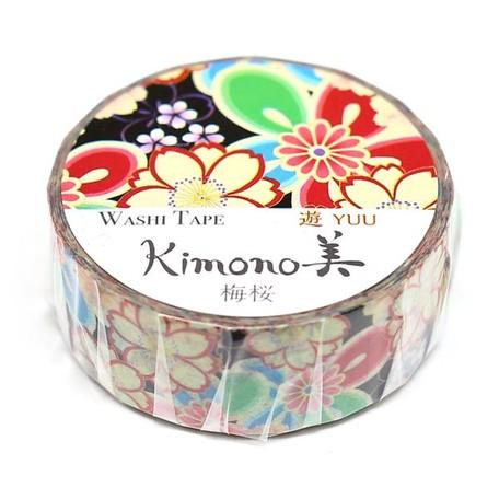 Japanese washi paper tape roll. Beautiful Floral design. Black - Pac West Kimono