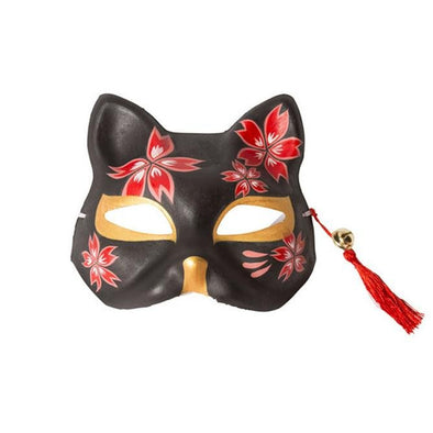 Mask Cat Black Cherry Blossoms - Pac West Kimono