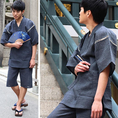 Mens Japanese Jinbei 2pc pajama /lounge wear set. Solid color Navy/Slate grey L-XL - Pac West Kimono