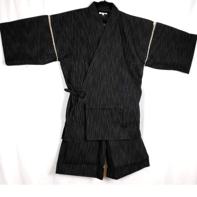 Mens Jinbei 2pc Set. Black Kirisame = Drizzle white lines L-4L. NEW - Pac West Kimono