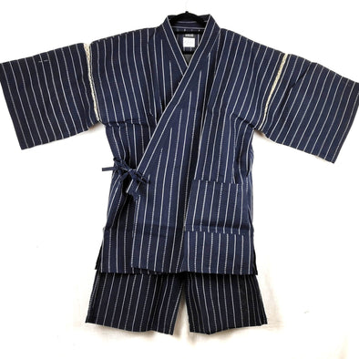 Mens Jinbei 2pc Set white stripes Navy or Black 3L-4L - Pac West Kimono