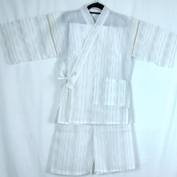 Mens Jinbei 2pc Set White with charcoal lines L-XL - Pac West Kimono
