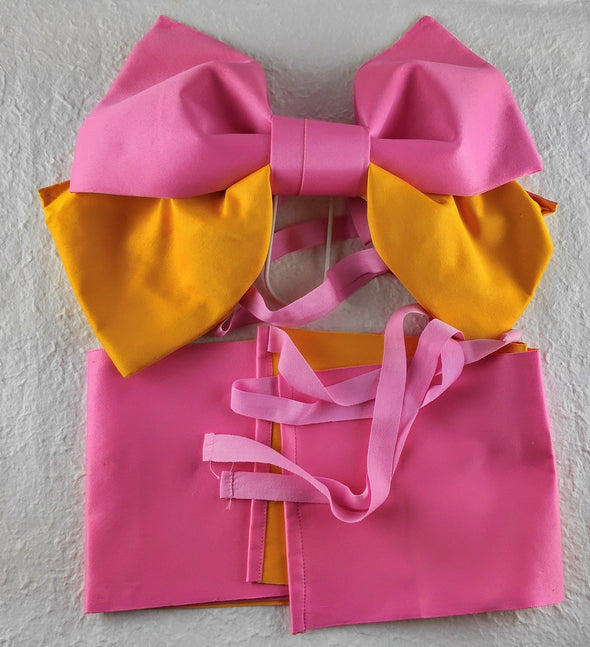Pre-made pre-shaped Obi Pink and yellow - Pac West Kimono