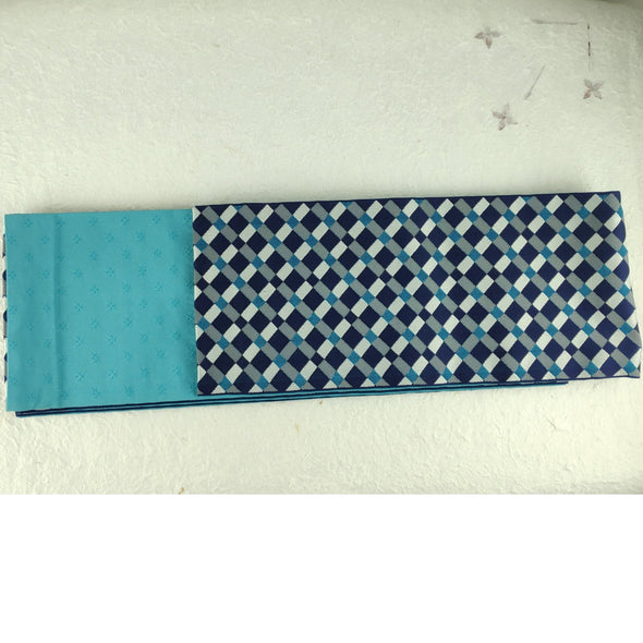 Reversible Japanese Kimono Obi Sash. Half width. Checkered blue on one side. Solid on the other. - Pac West Kimono