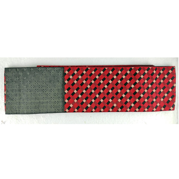 Reversible Japanese Kimono Obi Sash. Half width. Checkered red on one side. Solid on the other. - Pac West Kimono