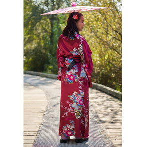 Soft smooth satin Kimono Dress Wine Red - Pac West Kimono
