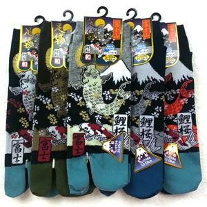 Split 2 Toe Japanese Tabi Socks Koi fish and Mount Fuji - Pac West Kimono