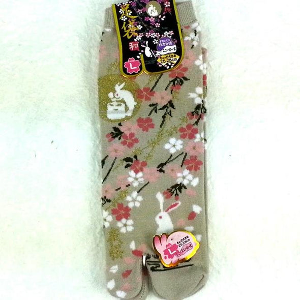 Split 2 Toe Japanese Tabi Socks Sakura Cherry Blossoms and Bunnies Large - Pac West Kimono