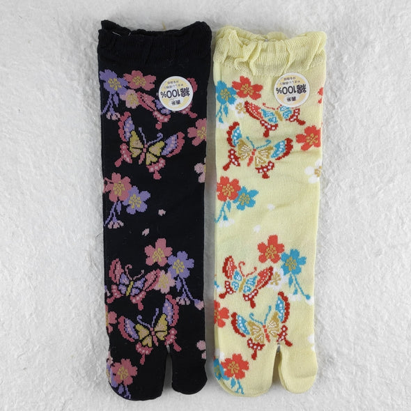 Split Toe Tabi Socks butterflies and Sakura Cherry Blossoms - Pac West Kimono