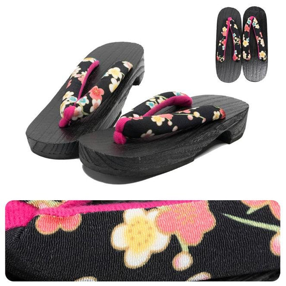 Womens Japanese Geta Sandals L size Black Plum Flowers - Pac West Kimono
