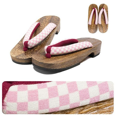 Womens Japanese Geta Sandals L size Checkered Pink - Pac West Kimono