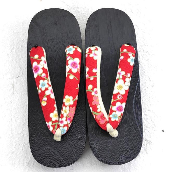Womens Japanese Geta Sandals L size Red Plum Flowers - Pac West Kimono