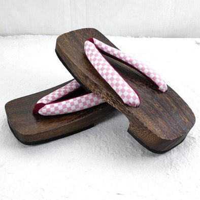 Womens Japanese Geta Sandals Rectangular Shape LL Checkered Pink - Pac West Kimono