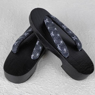 Womens Japanese Wood Geta Sandals Black Lace - Pac West Kimono